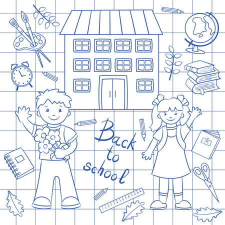 Schoolchildren and school supplies drawn in a notebook with a blue pen. Vector illustration. Ilustrace