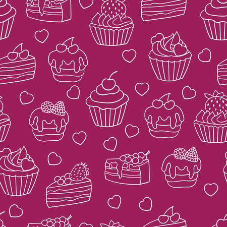 Vector seamless background with sweet cakes and cupcakes with berries, white outline on a red and crimson background
