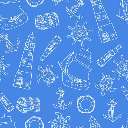 Vector seamless pattern on the theme of the sea with a ship, lighthouse, telescope, white outline on a blue background. For design of covers, packaging, and textile prints