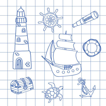 Drawn with a blue pen in a notebook ship, lighthouse, steering wheel and other sea adventures, vector illustration