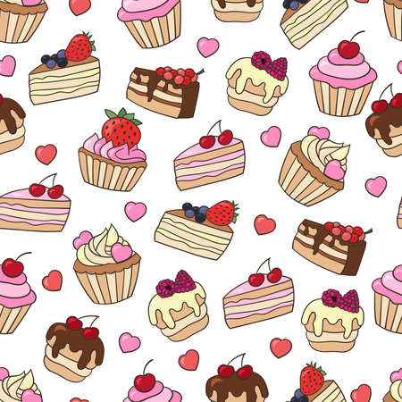 Vector seamless pattern with set of sweet cupcakes and cakes with berries, isolate on a white background. For design of covers, packaging, and textile prints
