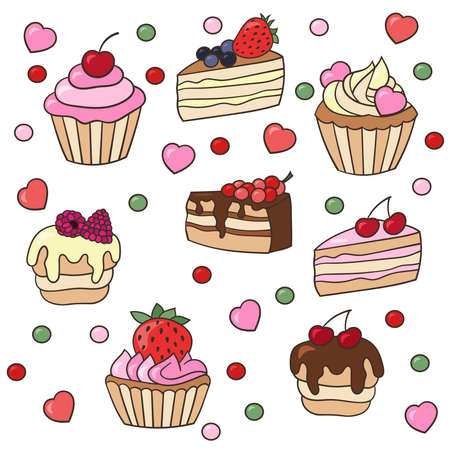 Vector set of sweet cupcakes and cakes with berries, isolate on a white background Ilustrace