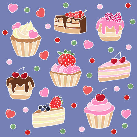 Bright vector set of cupcakes and cakes, sweets and desserts with strawberries, raspberries, cherries, currants on a purple background
