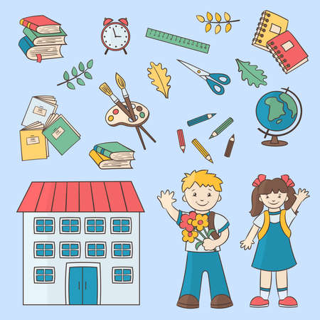 Back to school. Vector multi-colored set with school children, school supplies on a blue background