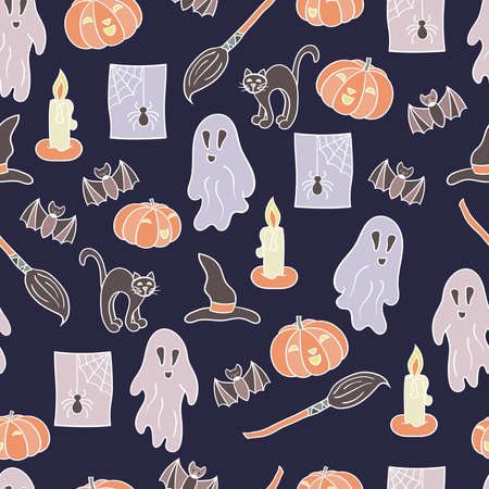 Vector seamless pattern with a set for Halloween on a dark background. For the design of covers, packages, holiday cards, textile prints