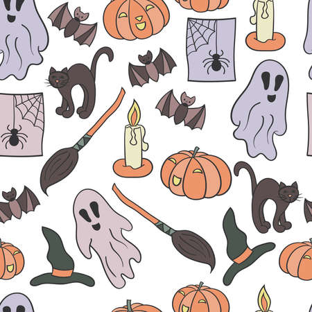 Vector seamless pattern with a set for Halloween on a white background. For the design of covers, packages, holiday cards, textile prints 向量圖像