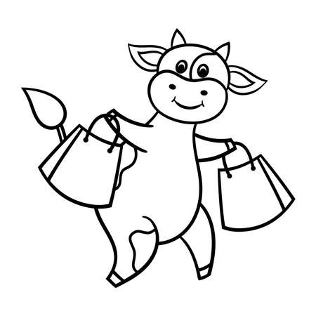 Vector coloring page with a funny funny cartoon cow on a shopping trip with purchases, symbol of 2021