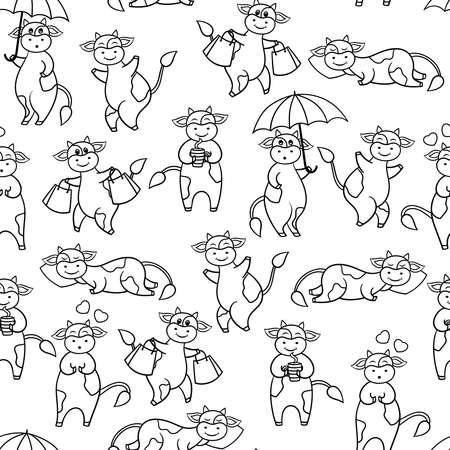 Seamless pattern of vector set with funny cute cartoon cow, coloring page for kids and adults