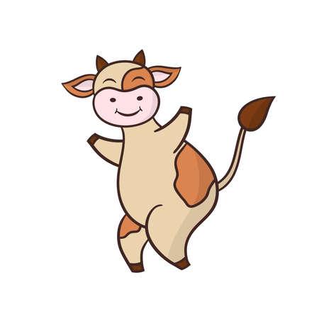 Vector cute funny cartoon dancing cow, symbol of 2021