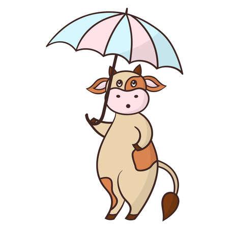 Vector funny cartoon cow with rain umbrella, symbol of 2021
