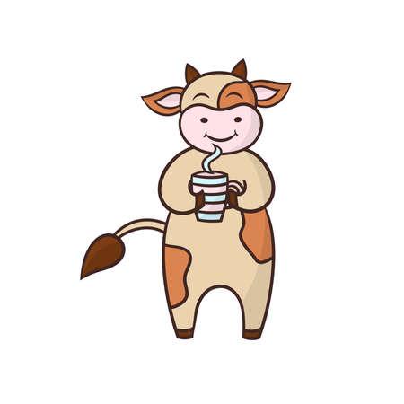 Vector cartoon funny cow drinking coffee or tea, symbol of 2021 Illustration