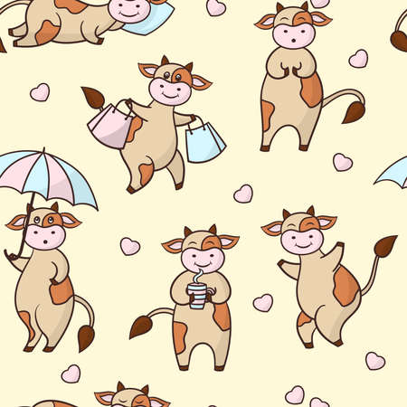 Vector seamless pattern with funny cartoon brown cows and hearts. Symbol of the year 2021. For packaging design, covers, textile prints Illustration