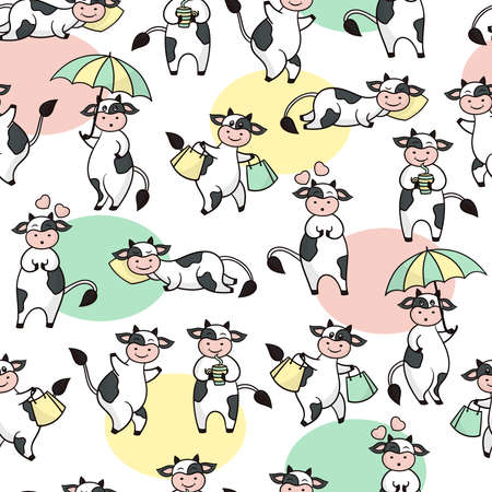Vector seamless pattern with funny cartoon cute black and white cows. Symbol of the year 2021. For the design of greeting cards, covers, packaging, textile prints Illustration