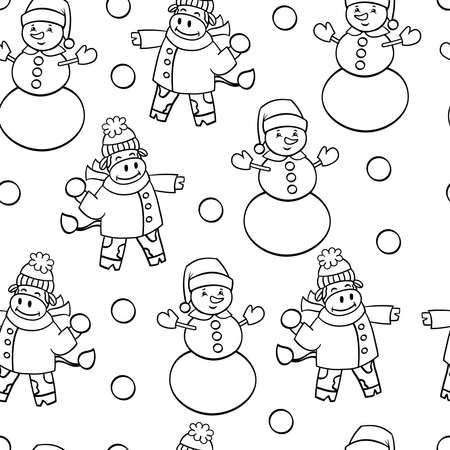 Vector seamless pattern with a bull in winter clothes and a snowman, coloring page for children and adults Illustration
