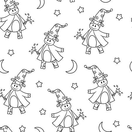 Vector seamless pattern with goby wizard, moon and stars, coloring page for kids and adults. Symbol of 2021