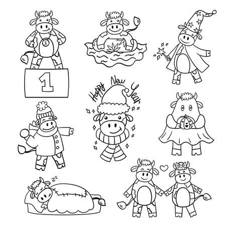 Vector set with a cartoon bull, the symbol of 2021. Coloring page for children and adults Illustration