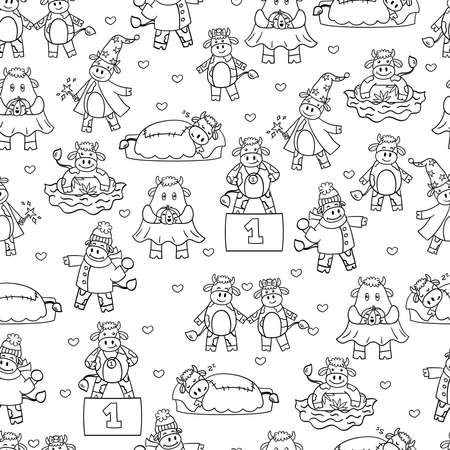 Vector seamless pattern with a cartoon bull, the symbol of 2021. Coloring page for children and adults