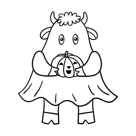 Coloring page with a funny cartoon bull in Halloween dressed as a ghost with a pumpkin. Vector illustration
