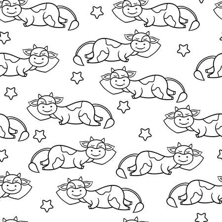 Vector seamless pattern with a funny cute cartoon cow sleeping on a pillow, coloring page for children and adults