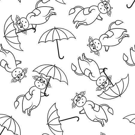 Vector seamless pattern with funny cute cartoon cow with an umbrella from the rain, coloring page for children and adults