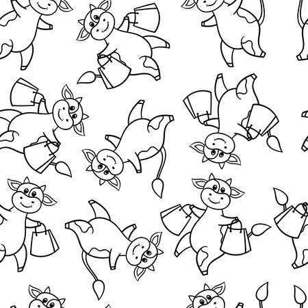 Vector seamless pattern with a funny cute cartoon cow on a shopping trip with purchases, coloring page for children and adults Illustration