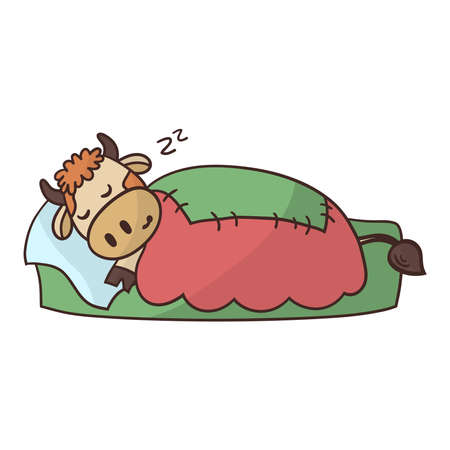 Cartoon cute bull is sleeping sweetly in bed under a warm blanket. Symbol of the year 2021. Vector illustration