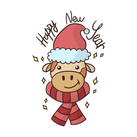 Cartoon portrait of a cute new year's bull in a red hat and scarf. Symbol of the year 2021. Vector illustration