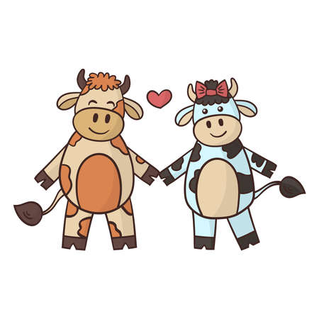 Cartoon couple in love, bull and cow holding hands. Symbol of the year 2021. Vector illustration
