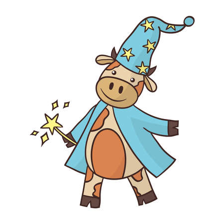Cartoon cute bull wizard in a raincoat and high hat with a magic wand. Symbol of the year 2021. Vector illustration