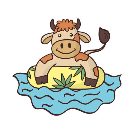 Cartoon cute bull swimming in the sea on an inflatable circle. Symbol of the year 2021. Vector illustration