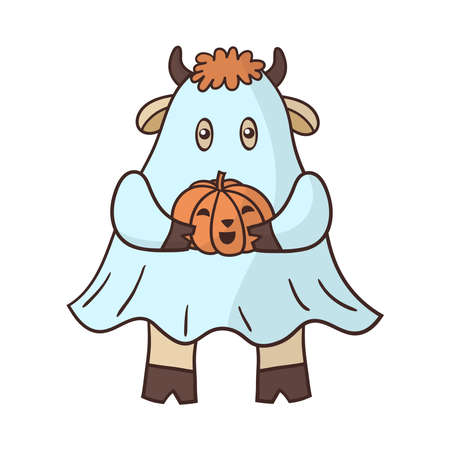 Cartoon bull dressed as a Ghost with a pumpkin for Halloween. Symbol of the year 2021. Vector illustration
