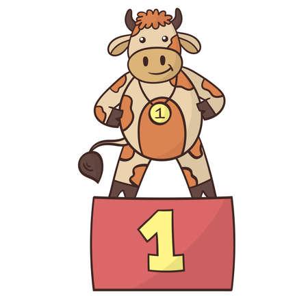 Cartoon funny bull winner, the symbol of 2021. Vector illustration