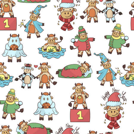 Vector seamless pattern with a cartoon cute bull, the symbol of 2021 Illustration
