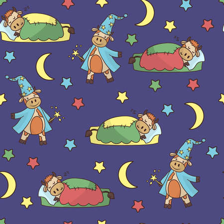 Vector seamless pattern with cute cartoon sleeping bull and wizard, moon and stars on purple background 向量圖像