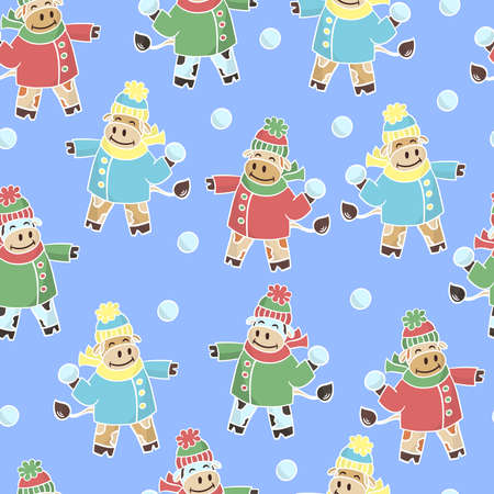 Vector seamless pattern with cartoon cute funny bulls behind the winter snowball game, the symbol of 2021