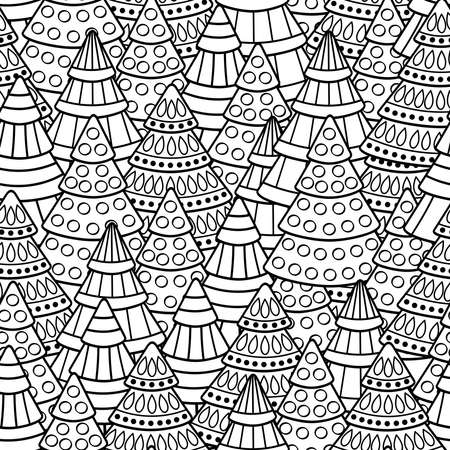 Vector seamless pattern with abstract Christmas trees, coloring page for kids and adults