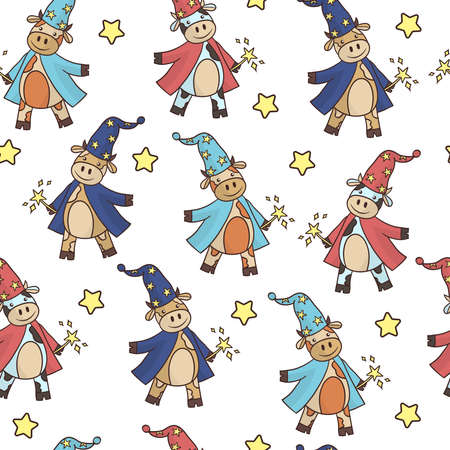 Vector seamless pattern with cartoon bull wizard with a magic wand, the symbol of 2021, on a white background