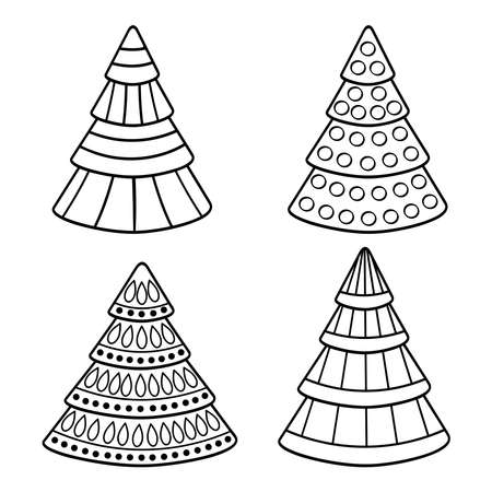Vector abstract Christmas trees, coloring page for kids and adults Illustration