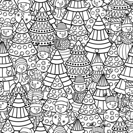 Vector seamless pattern with Christmas trees, snowmen, coloring page for kids and adults