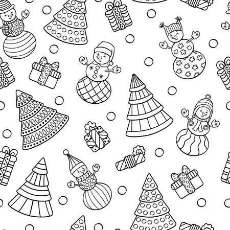 Vector seamless pattern with Christmas trees, snowmen, gifts, coloring page for kids and adults