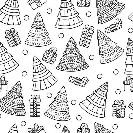 Vector seamless pattern with abstract Christmas trees and gifts, coloring page for kids and adults