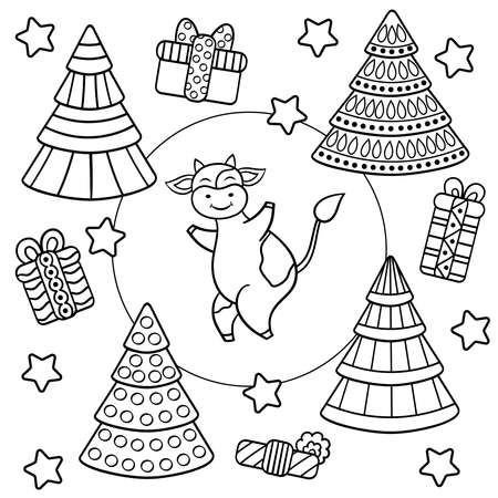 Vector coloring page with cute dancing cartoon cow, bull, Christmas trees and gifts. Symbol of the year 2021.