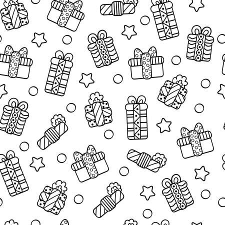 Vector seamless pattern with Christmas gifts in boxes and packages, coloring page for children and adults