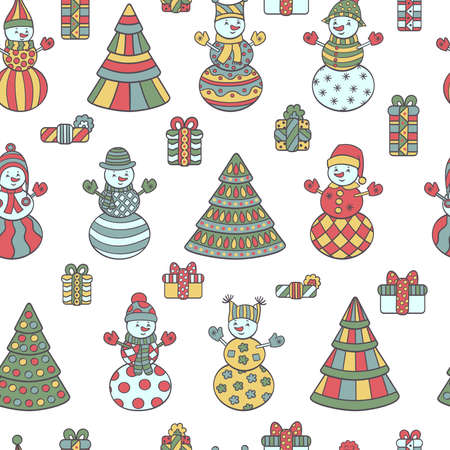 Vector multi-colored winter seamless pattern with abstract snowmen, Christmas trees and gifts on a white background. For the design of covers, packaging, and textile prints