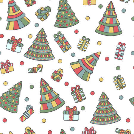 Vector seamless pattern with abstract holiday Christmas trees and gifts on a white background. For packaging design, covers, textile prints Illustration