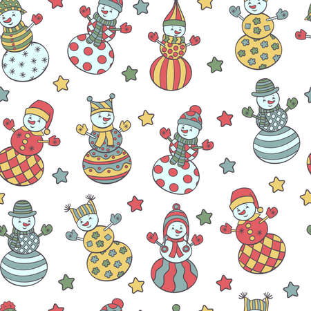 Vector seamless pattern with colorful abstract cute snowmen and stars on a white background. For packaging design, covers, textile prints