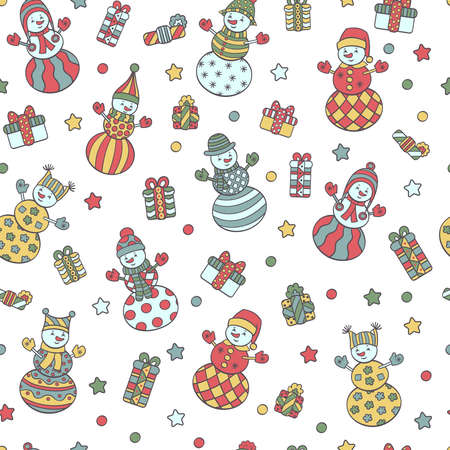 Vector abstract seamless pattern with colorful cute Christmas snowmen and gifts on a white background. For packaging design, covers, textile prints Illustration