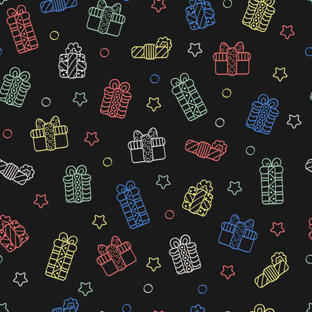 Vector seamless pattern with Christmas gifts in holiday packages, multi-colored outline on a dark background. For packaging design, covers, textile prints Illustration