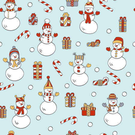 Vector Christmas seamless pattern with snowmen and gifts on a blue background. For packaging design, covers, textile prints