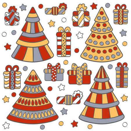 Vector set with Christmas trees and gifts, on a white background. Three colors: red, yellow, and gray. On white background. For packaging design, covers, textile prints